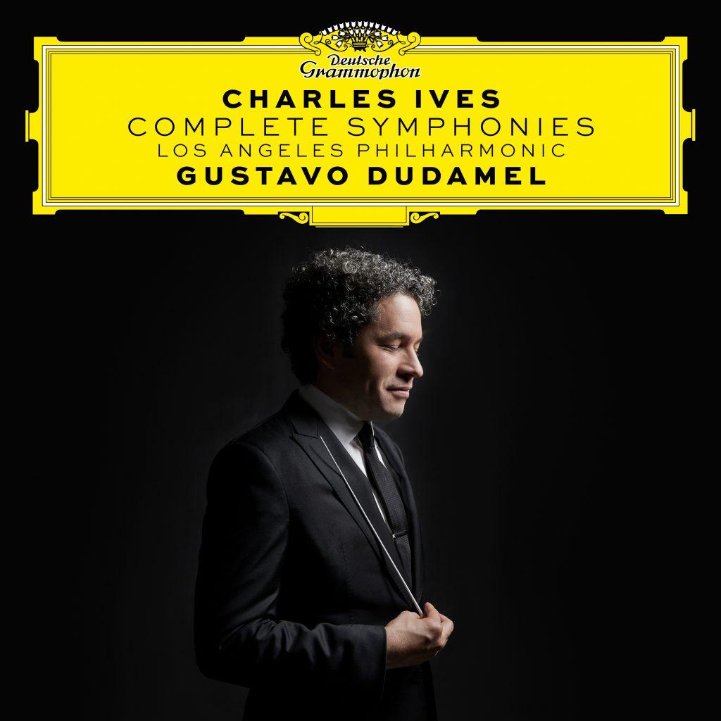 Platecover for komplette symfonier av Charles Ives med Gustavo Dudamel og LA Phil